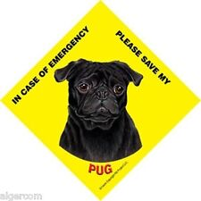 Save My BLACK PUG 4.5x4.5 Waterproof Emergency Rescue Sign Suction Cup Made USA