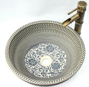 Floral Patterned Kasbah Bathroom Cloakroom Ceramic Counter Top Wash Basin Sink