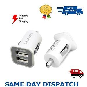 3.1 Amp USAMS Twin Port USB 12v Universal Car Charger Cigarette Lighter- white