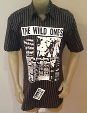 NWT Famous Stars and Straps THE WILD ONES Black  PinStripe Button Shirt Mens XL