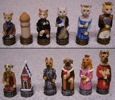 """Chess Set Pieces Animals Domestic Cats vs Dogs NEW 3 1/4"""" kings"""