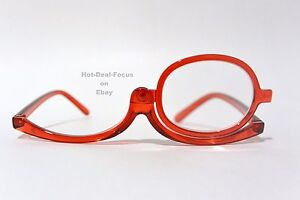 MAKEUP READING GLASSES with MAGNIFYING FLIP-UP LENS red POWER +1.50 +2.00 +3.00