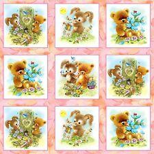 Mejores amigos animales Rosa plazas Panel de algodón acolchado Tela -60 cm X 110cm-spx