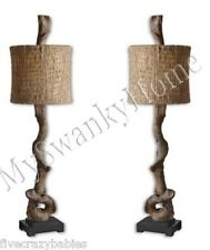 Eco Chic Natural Rustic DRIFTWOOD Accent Buffet Lamp PAIR SET of 2 Beach Horchow