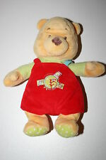 DOUDOU PELUCHE OURS WINNIE THE POOH SALOPETTE ROUGE PULL VERT DISNEY BABY