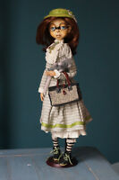 "OOAK ""Colette With a Rat"" Polymer Clay Art Doll."