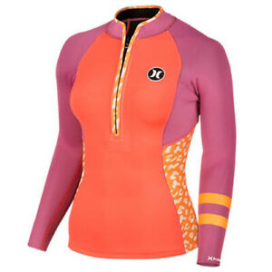 Hurley Women's Fusion 202 2mm Westuit Long Sleeve Surf Jacket - Purple/Orange