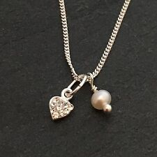 Stirling Silver cz heart & pearl necklace.GIFT  bridesmaid.Birthday,Personalised
