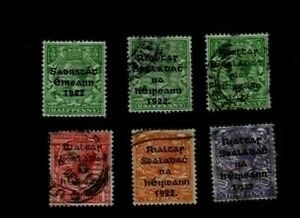 1922/3. 6 x DIFF'T 'FREE STATE' OVERPRINT ON GB STAMPS AS IN PICTURES. GU/MH.