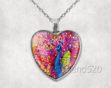 Glass Heart Pendant Heart Necklace Peacock Photo Tibet Silver Cabochon