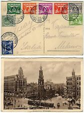 414 - Olanda - Affrancatura multicolore su cartolina da Amsterdam a Milano, 1931