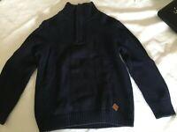 Boys High Neck Navy Jumper Zip Half Neck Aged 7 years knit  ZARA C965