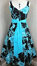 Joe Browns ~ size 14 ~ black & teal floral cotton, strappy, fit & flare dress