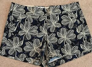 """J Crew Factory Womens 4"""" printed chino short 8 G2318 Navy Blue Ivory Floral"""