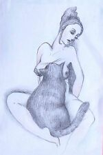 """""""WOMAN WITH TOMCAT """" SMALL EROTIC FANTASY DRAWING original by Dora Pilssala"""