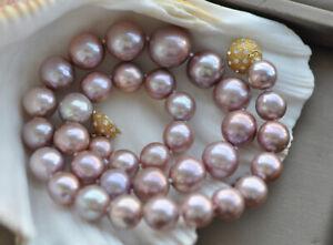 "Z10241 Natural 17.5"" 15mm Lavender Round Edison Keshi Pearl Necklace CZ"