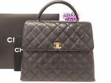o7322 Mint! Auth CHANEL Black Caviar Skin Leather Turn Lock Kelly Hand Bag GHW