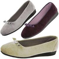 Ladies Flat Pumps Plain Slip on Comfy Womens Work School Dolly Shoes
