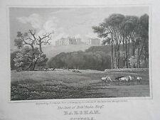 Incisione ORIGINALE antiquario Suffolk; barsham - 1818-Sedile di Robert REDE Esq