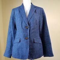 Womens Talbots Blazer Jacket SZ 6 Blue 100% Linen 2 Button Lined NICE