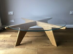 Round Coffee Table with Glass Top and Ash Frame