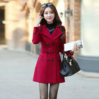 Women Double Breasted Wool Trench Coat Slim Long Jacket Winter Overcoat Outwear