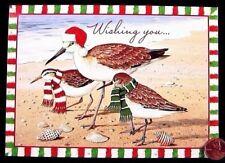 Sea Birds Sandpiper Scarves Shells Ocean Sea - Wishing You Christmas Card Unused