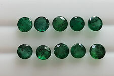 4mm 10pc 2.70cts Natural Emerald Green Loose Brazil Origin Round Transparent