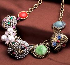 Women gift Betsey Johnson pendant rhinestone fashion pearl cat jewelry necklaces