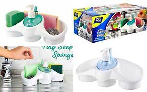 PLASTIC COMBO WASHING UP LIQUID SOAP DISPENSER & SPONGE HOLDER KITCHEN SINK TIDY