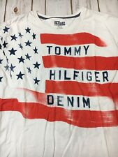 Tommy Hilfiger Denim Graphic T shirt Men's Xl American Flag Tee White
