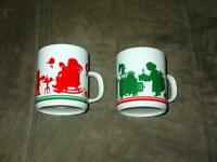 (2) Vintage AVON 1984 :  Mr. Claus & Mrs. Claus Christmas (Boxed Ceramic Mugs)