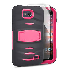 For ZTE Majesty Pro Hard Gel RUGGED Rubber Kickstand Case Cover Black Hot Pink