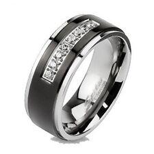 MENS TITANIUM BLACK 8 SIMULATED DIAMOND WEDDING BAND RING size 9 10 11 12 13