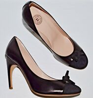 Guillaume Hinfray Noisette New SZ 9.5 M 40 Black Leather Suede Pumps Heels ITALY