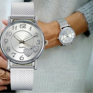 Women Watches Ladies Unisex Watch Silver Heart Dial Silicone Mesh Belt