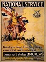 PROPAGANDA WAR WWI BRITAIN BRITANNIA ENLIST NATIONAL SERVICE POSTER BB6990B