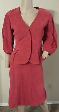 Luca Luca Turkey Red Lamb Leather 2 Piece Skirt Jacket Top 42