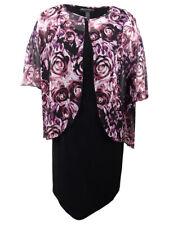 Connected Women's Plus Size Printed Chiffon-Cape Dress (20W, Merlot)