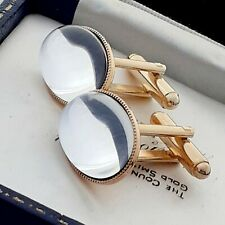 Vintage - 1970s Clear Crystal Mirror Glass Cabochon - Oval Gold Plated Cufflinks