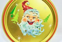 Vintage MCM Christmas Kitsch Santa Starburst Round Metal Tray Gold Jolly Smile
