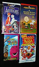 Childrens VHS (4) Tape Lot  Barny Aristocats Peanuts Winnie Pooh Disney All KIDS