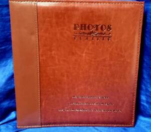 Magnetic Self Stick Page Photo Album Family Album Leather Holds Red Brown Large