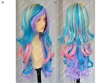 My Little Long Wave Anime Beautiful Bold Pink Purple Blue Mixed Wig #127