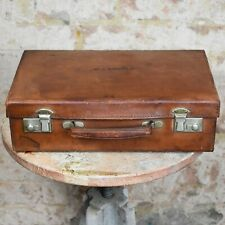 Vintage Leather Suitcase Travel Case WJ Arnold Vintage Prop Staging Adventure