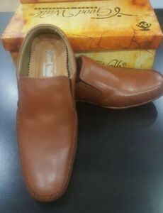 Mens Mustard Colour Leather SlipOn Shoes Casual Formal Work Office School(A-D-6)