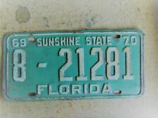 1969 1970 FLORIDA LICENSE PLATE  # 8 - 21281