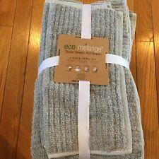 New Eco-melange 6 Piece Towel Set 2 Hand 2 Wash 2 Bath Think & Act Green Gray