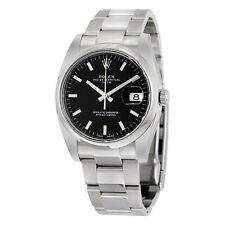 Rolex Date Black Index Dial Domed Bezel Mens Watch 115200BKSO