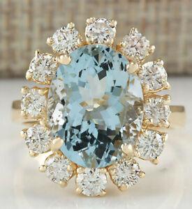 6.64 Carat Natural Aquamarine 14K Yellow Gold Diamond Ring